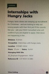 The Hungry Jack's ad for internships.