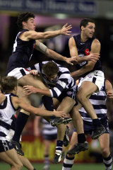 Carlton flies high above Geelong in the last quarter but were not able to snatch the game.