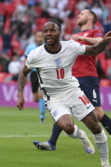 Raheem Sterling celebrates his winner for England against the Czech Republic at Wembley.