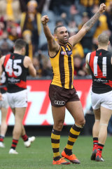 Victory salute: Shaun Burgoyne after the final siren.