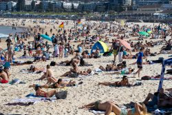 Bondi Beach on August 30. People should stay a towel-length apart at the beach, the government says.