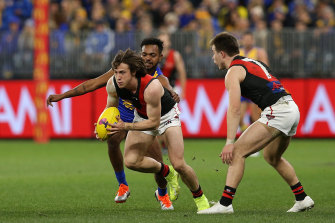 Young Bomber Andrew McGrath bolts against the Eagles.