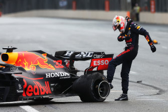 Max Verstappen was not happy after crashing out in Azerbaijan.