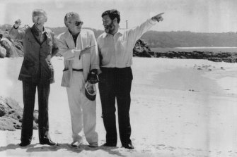 Explorer and conservationist Jacques Cousteau (left) with then environment minister Graham Richardson and then science minister Barry Jones at Jervis Bay in February 1990.