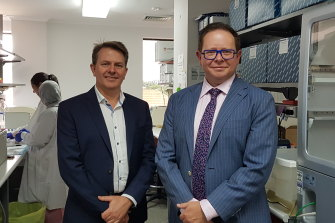 Fetal medicine specialist Glenn Gardener, left, and infectious diseases expert Paul Griffin are leading the RSV vaccine trial at the Mater.