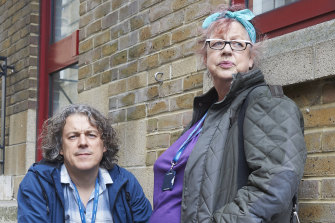 Davies with fellow comedian and friend Jo Brand in Damned. She encouraged him to seek therapy.