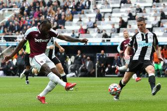 Michail Antonio scores for West Ham against Newcastle at St James Park on Sunday.