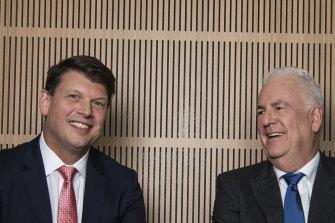 AGL chief executive Brett Redman, left, and chairman Graeme Hunt, before Redman's sudden departure.