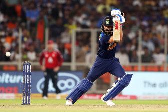 Virat Kohli plays a shot during Sunday's T20 clash with England.