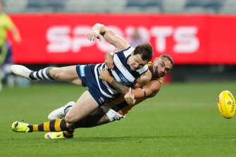 Shaun Burgoyne escaped suspension and was fined for his tackle on Patrick Dangerfield in round two, but the AFL has since overhauled the rules.