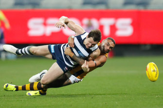Shaun Burgoyne's tackle on Patrick Dangerfield during Geelong's win over Hawthorn is likely to be looked at.