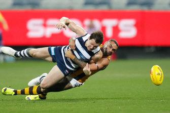 Shaun Burgoyne's tackle on Patrick Dangerfield.