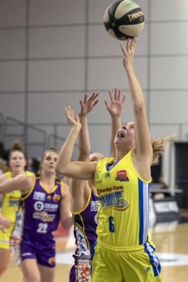 Full stretch: Cassidy McLean breaks free to score for Bendigo at the State Basketball Centrer.