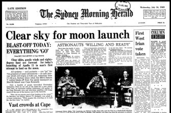 Front page of the Sydney Morning Herald, July 16, 1969