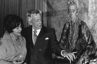 Sir Robert Helpmann and artist Judy Cassab as they inspect his portrait at its unveiling in the southern foyer of the Opera House on September 16, 1976.