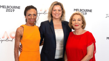 Turia Pitt (L) Kim Clijsters and Ita Buttrose (R) during the Inspirational Series brunch.