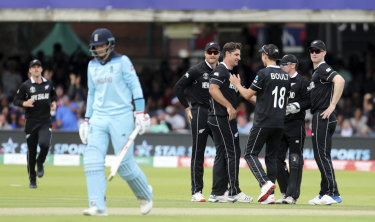 New Zealand celebrate the dismissal of England's Joe Root.