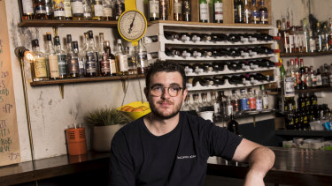 Bar manager Evan Stroeve at Bulletin Place in Circular Quay, where lockout laws, light rail construction and fewer office workers have driven down foot traffic.