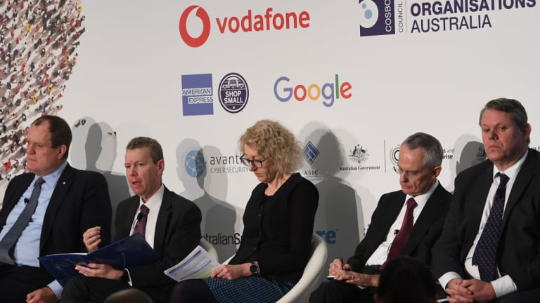 The regulator panel at the National Small Business Summit included, from left: Chris Jordan of the Australian Taxation Office, John Price of the Australian Securities and Investments Commission, Fair Work Ombudsman Sandra Parker, Rod Sims of the Australian Competition and Consumer Commission, and David Locke of the Australian Financial Complaints Authority.