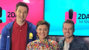 Rusciano with Ed Kavalee and Grant Denyer before she left the 2DayFM Breakfast Show.