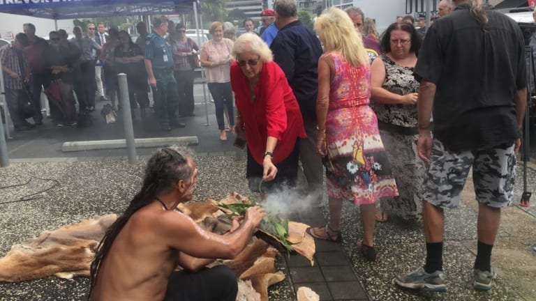 The smoking ceremony held to free the spirits of the 15 victims of the Whiskey Au Go Go fire bombing.