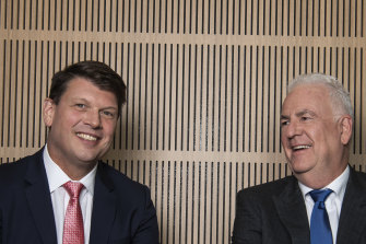 AGL chief executive Brett Redman, left, and chairman Graeme Hunt, before Redman's sudden departure.