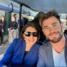 From Twitter  @GladysB Gladys Berejiklian and Chris Hemsworth at mad max announcement today.