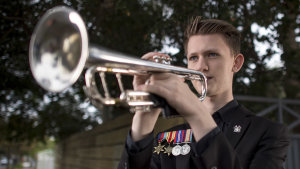 Benjamin Ball of Melbourne was one of many musicians, young and old, who woke before dawn on Anzac Day last year to play the Last Post and Reveille (or Rouse) in their driveways.