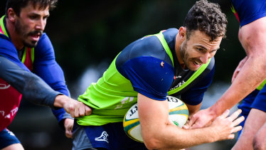 Leader: White has edged ahead of Jake Gordon (left) in the Wallabies pecking order.
