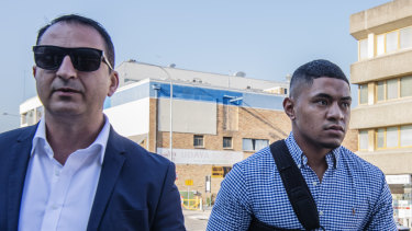 Manase Fainu, right, heads to court alongside his manager Mario Tartak.