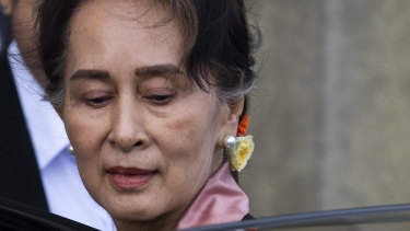 Myanmar's leader Aung San Suu Kyi leaves the International Court of Justice in The Hague, Netherlands.