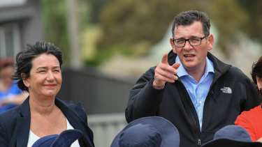 Premier Daniel Andrews with Buninyong candidate Michaela Settle.