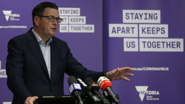 Premier Daniel Andrews during his daily briefing on Thursday.