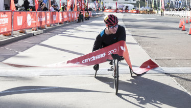 Sam Rizzo is the first male wheelchair competitor to finish the 2018 City2Surf.