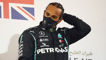 Lewis Hamilton after winning the Bahrain Grand Prix on Sunday.