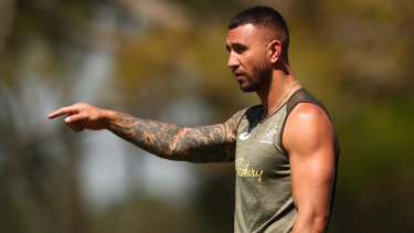Quade Cooper at Wallabies training on Saturday before the team's match against South Africa.