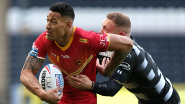 Israel Folau in action for Catalans Dragons against Hull FC.