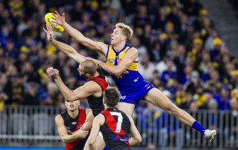 Oscar Allen flies high for the Eagles against the Bombers in Perth on Thursday night.