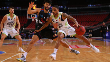 Keifer Sykes of Phoenix in action in game three against Melbourne United.