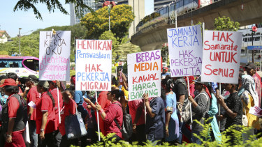 Malaysian workers stage a rally marking May Day in Kuala Lumpur on Wednesday.