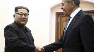 Korean leader Kim Jong-un, left with Russian Foreign Minister Sergei Lavrov in Pyongyang in May.