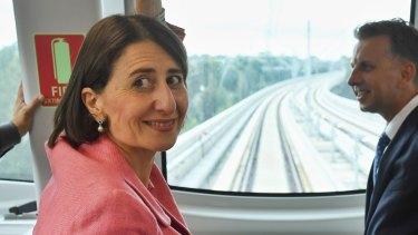 Premier Gladys Berejiklian aboard a metro train in Sydney's north west last week.