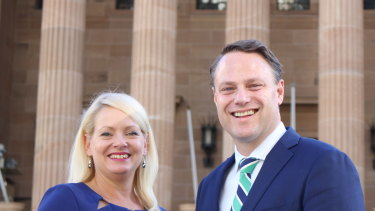 Brisbane's new lord mayor Adrian Schrinner and deputy mayor Krista Adams, who will deliver the council's annual budget on Wednesday.