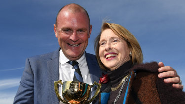 Owner-breeder Anthony Mithen and Gai Waterhouse celebrate Runaway's 2018 Geelong Cup victory.
