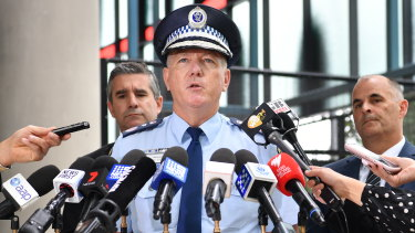 NSW Police Commissioner Mick Fuller addresses the media on Wednesday.