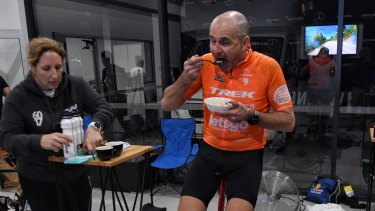 Breakfast on the bike at 6am on Thursday: Rupert Guinness during the Virtual Race Across America.