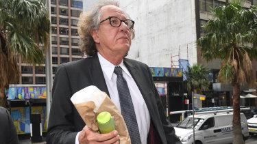 Geoffrey Rush outside court in Sydney last month.