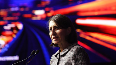 NSW Premier Gladys Berejiklian makes her pitch to large investors on Monday.