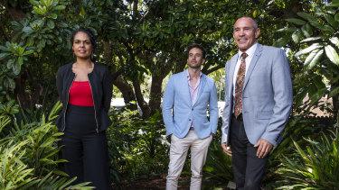 Indigenous panel speakers Teela Reid,  Josh Brown and David Liddiard at the Sydney