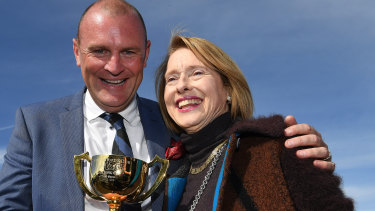 Anthony Mithen and Gai Waterhouse celebrate Runaway's Geelong Cup victory.